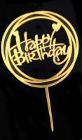 Gold Round Frame Happy Birthday Message Cake Topper1