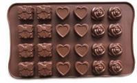 Silicone Gift Heart Rose Chocolate Mould 24-in-11