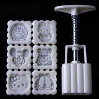 50g Square Cartoon Motives Mooncake Cookie Press 6 pcs 1508b1
