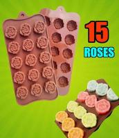 Silicone 15 Rose Flower Chocolate Soap Ice Mould1