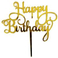 Acrylic Gold Happy Birthday Message Cake Topper1