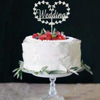 Silver Heart Wreath Wedding Message Cake Topper1