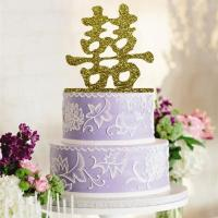 Acrylic Gold Chinese Wedding Cake Topper1