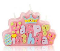 Party Time Pink Happy Birthday Candle1