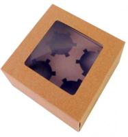 5 pcs Kraft Brown 4-Cupcake Boxes With Window1