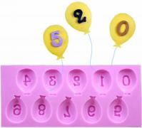 Birthday Balloon Number Fondant Silicone Mould 10-in-1 15071