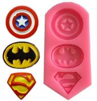 Silicone Superhero Batman Superman Captain America Fondant Mould1